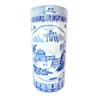 Vintage Chinese Blue and White Pavilion & Pagoda Porcelain Umbrella Stand For Sale