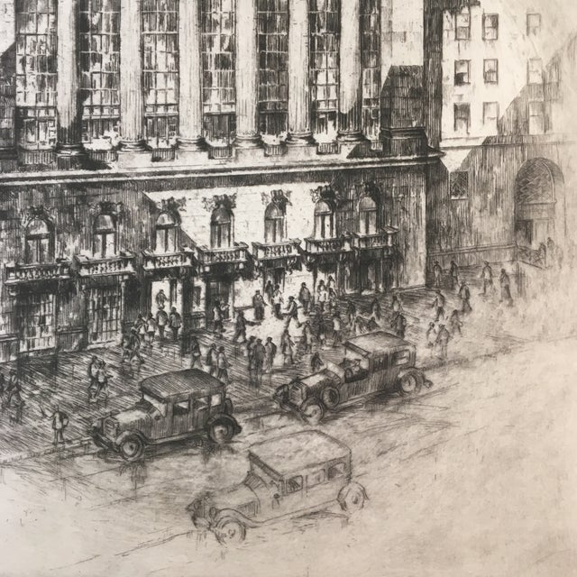 "Anton Schutz 1925 ""New York Stock Exchange"" Architectural Original Signed Etching by Anton Schütz, Framed For Sale - Image 4 of 8"