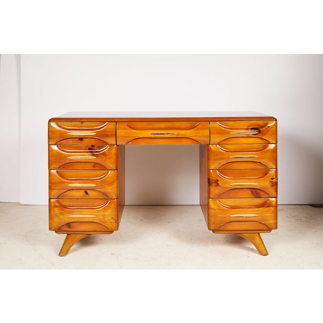 Midcentury Sculptured Pine Desk by the Franklin Shockey Company For Sale - Image 13 of 13