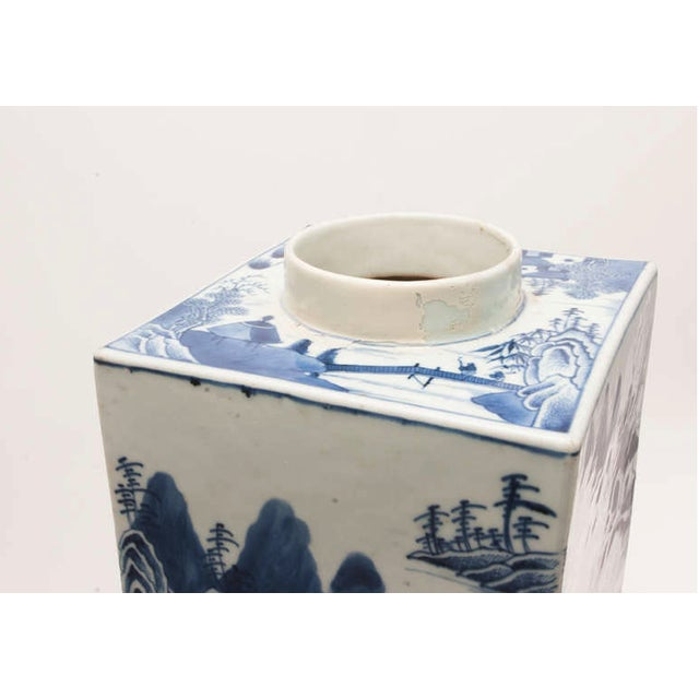 19th Century Chinese Export Canton Large Blue and White Tea Caddy For Sale - Image 10 of 11