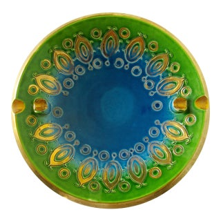 Vintage Mid-Century Aldo Londi for Bitossi Blue Ashtray, or Catchall Dish For Sale