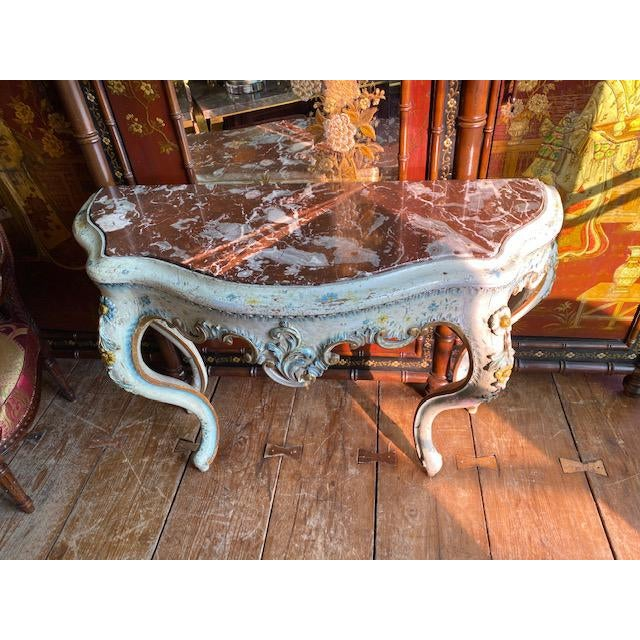 Transitional 19th C. Venetian Painted White and Blue Console For Sale - Image 3 of 13