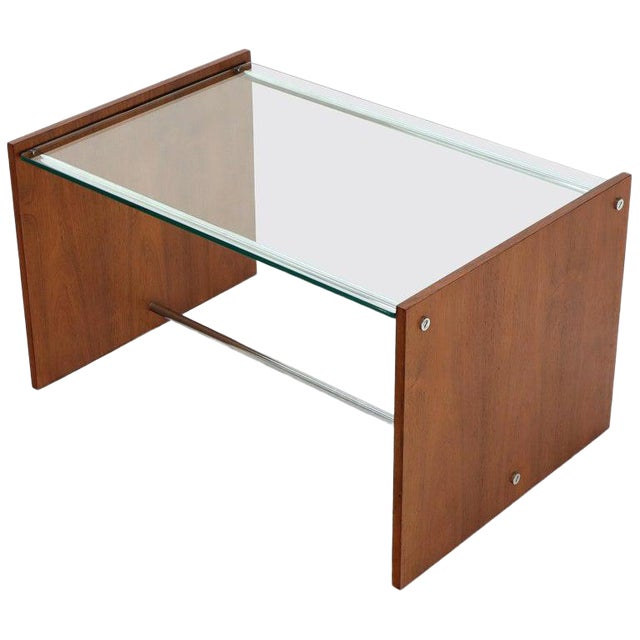 Mid-Century Danish Modern Rosewood Chrome Glass Top Coffee Side Table For Sale