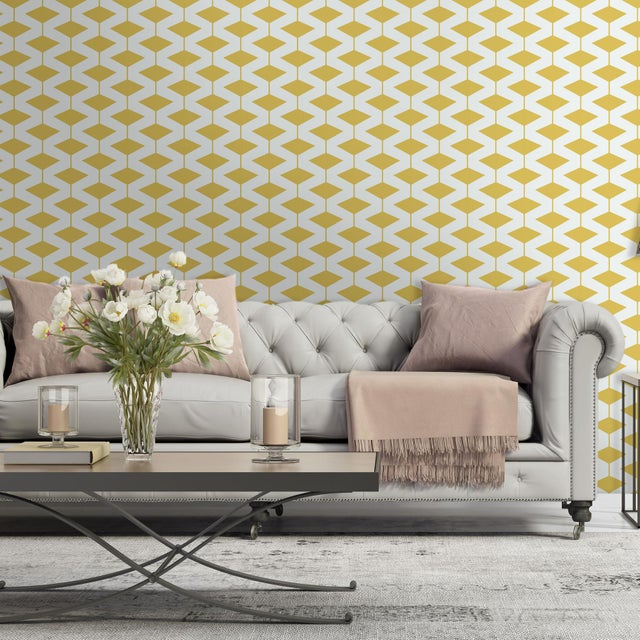 Yellow Abacus Wallpaper Remnant by Mitchell Black - Image 2 of 2