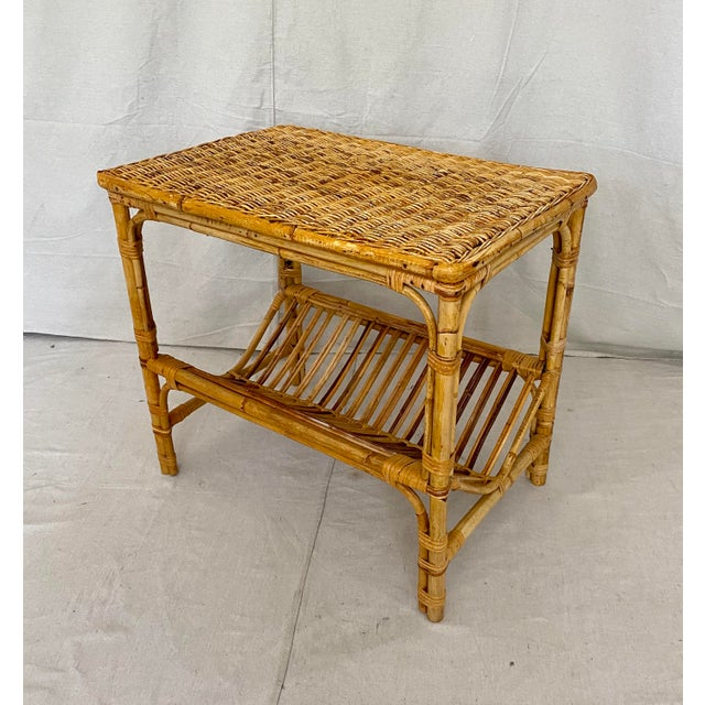 Vintage Rattan Wicker Side Table With Magazine Shelf For Sale - Image 13 of 13