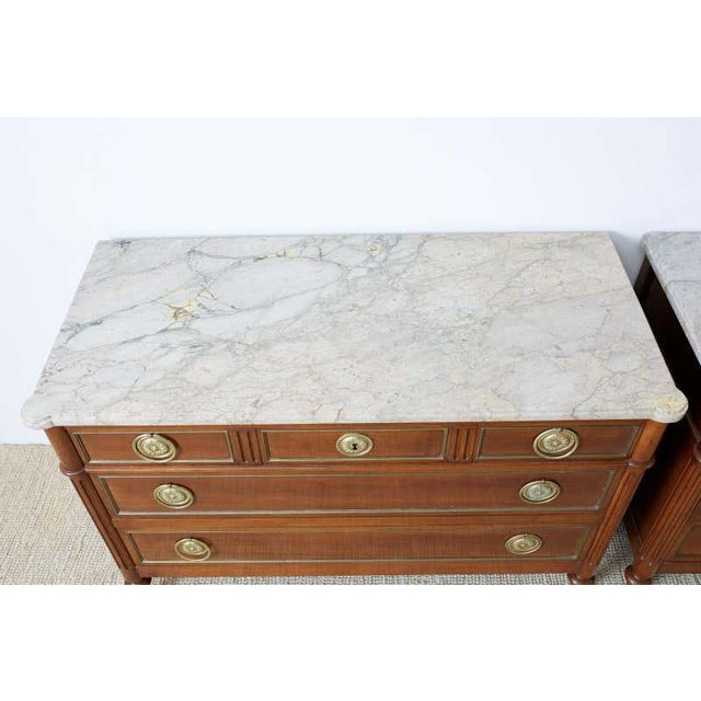 Early 20th Century Pair of Louis XVI Style Marble Top Commodes or Dressers For Sale - Image 5 of 13
