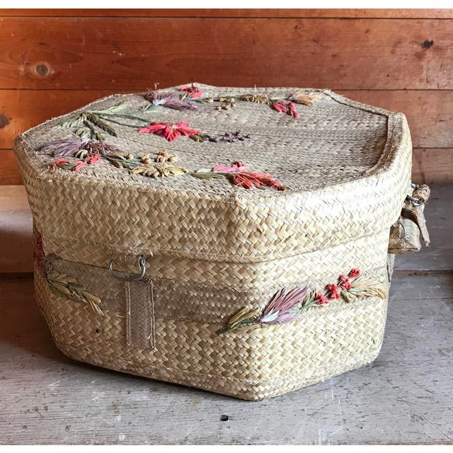 Straw 1970s Straw Hat and Woven Hat Box, Boho Fashion For Sale - Image 7 of 10