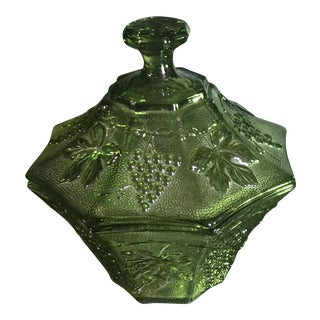 Vintage Green Depression Glass Candy Dish For Sale