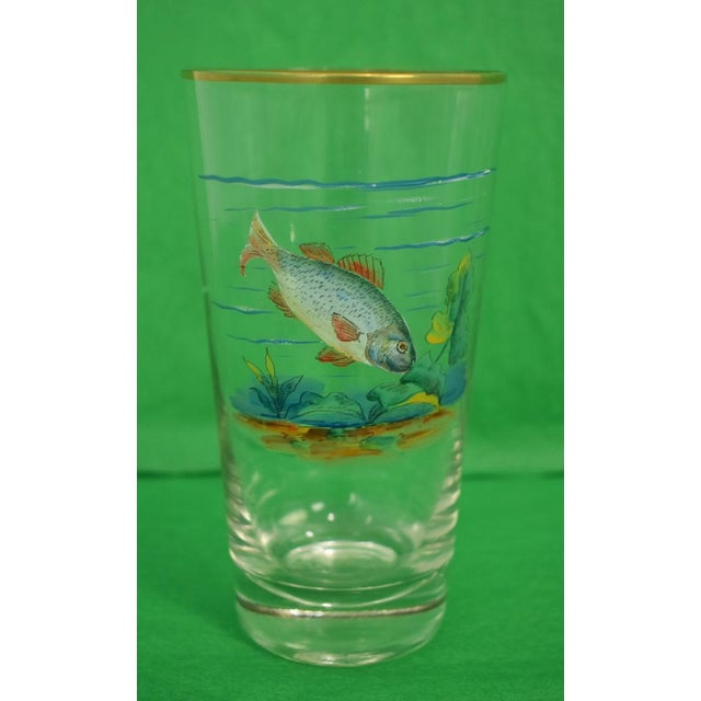 Rustic Vintage Mid-Century Hand-Painted 'Fish' High-Ball Glasses - Set of 4 For Sale - Image 3 of 6