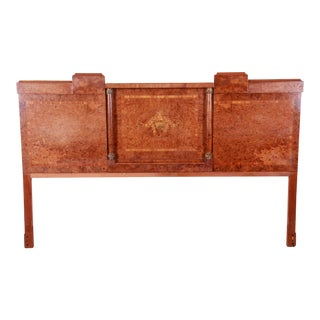 French Art Deco Burl Wood and Inlaid Marquetry King Headboard, Circa 1930s For Sale