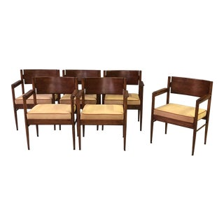 A Stylish and Solid Set of 6 Italian 1960's Cherry Wood Arm Chairs With Tan Boar Skin Upholstery For Sale