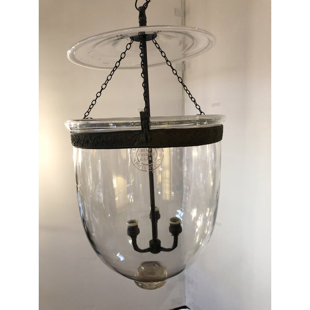 """Design Plus Gallery presents a vintage Glass Hall Lantern from Val Saint Lambert. Etched with the craftsman name, """"Best..."""