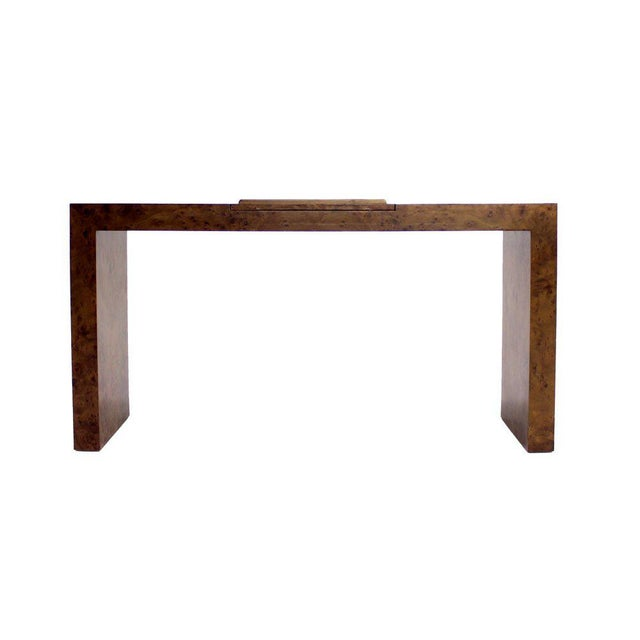 Mid Century Burl Wood Walnut Adjustable Lift Tilt Top Console Table For Sale - Image 6 of 10