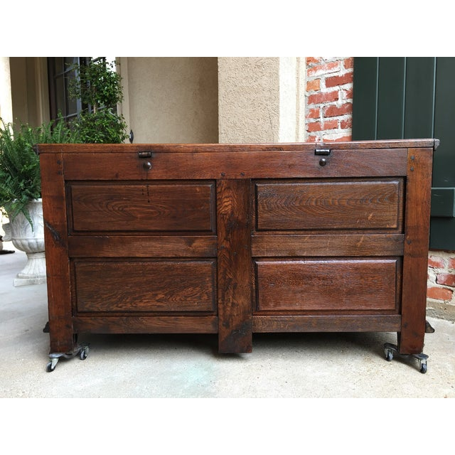 1900s Antique French Country Carved Oak Mule Chest Bench Coffer Trunk For Sale - Image 12 of 13