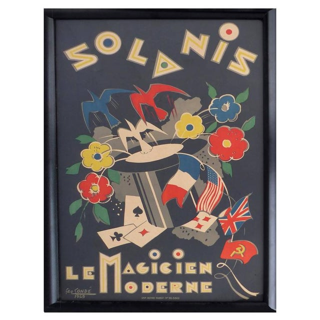 Black French Art Deco Poster by George Conde For Sale - Image 8 of 8