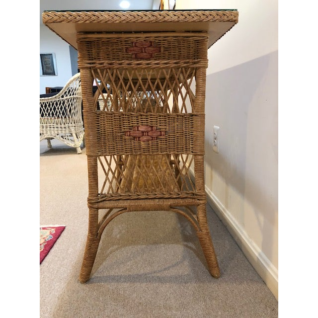 1950s Vintage Wicker Console Table For Sale In Washington DC - Image 6 of 9