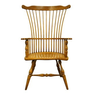 Late 20th Century Drexel Heritage Solid Maple Windsor Style High Back Accent Arm Chair For Sale