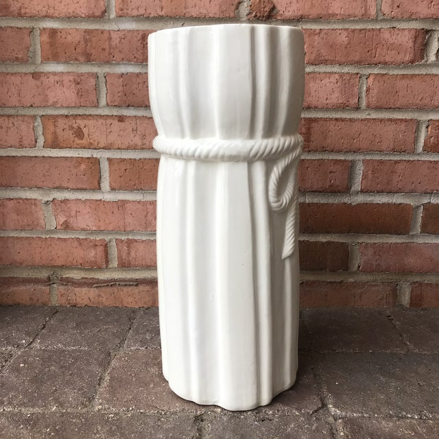 1970s Vintage Draped Ceramic Umbrella Stand For Sale In Chicago - Image 6 of 12