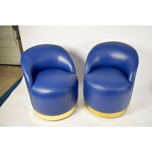 Karl Springer Style Chairs in Blue Leather with Brass Finish Base on Casters For Sale In Dallas - Image 6 of 7