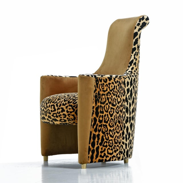 1980s Scroll Headrest Neo Deco Velvet Leopard Print High Back Lounge Chairs For Sale - Image 5 of 9