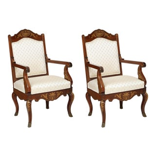 William IV Rosewood and Brass-Inlaid Armchairs - a Pair For Sale
