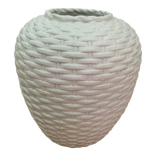 White Pottery Woven Urn For Sale