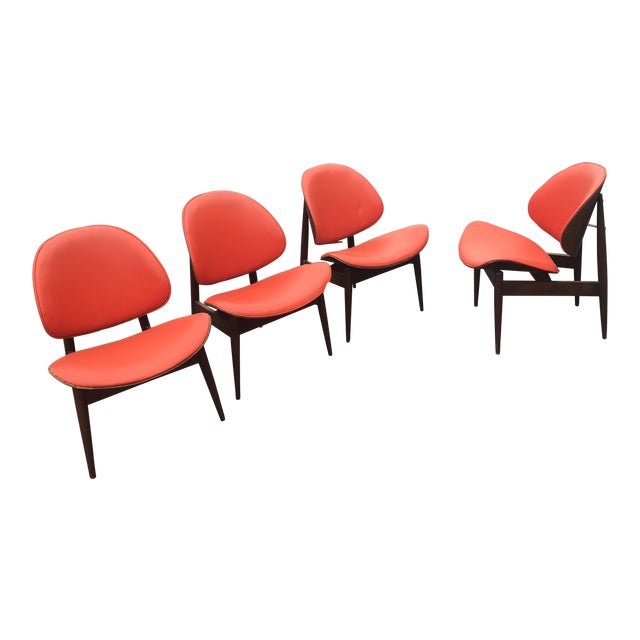 Mid-Century Modern Kodawood Seymour Walnut Clam Chairs - Set of 4 For Sale