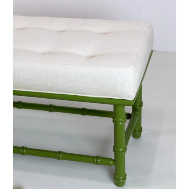 Mid Century Faux Bamboo Green Bench For Sale In Miami - Image 6 of 11
