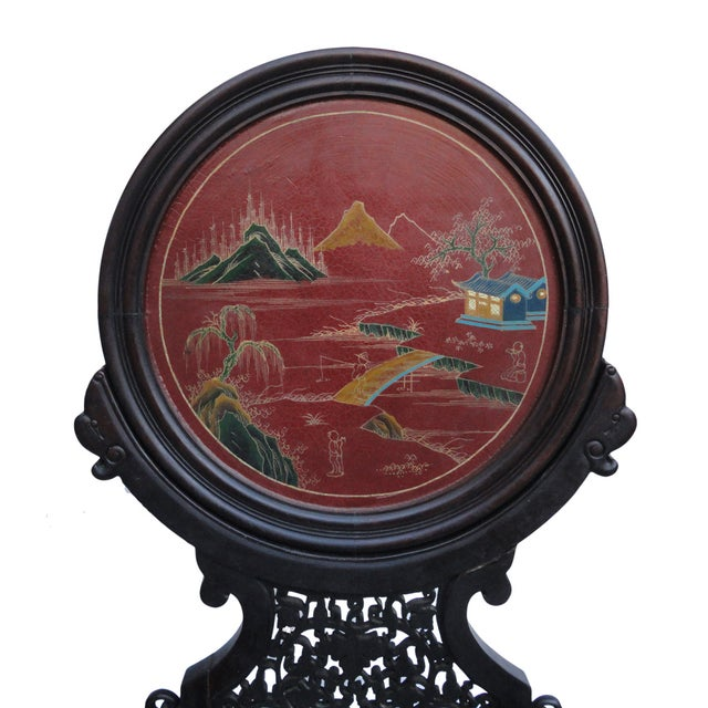 Black Oriental Tabletop Display Plaques- A Pair For Sale - Image 8 of 9