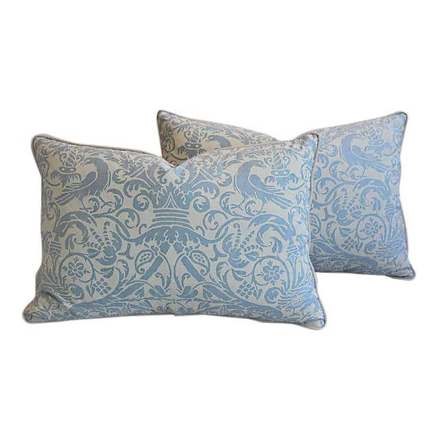 """26"""" X 18"""" Custom Tailored Italian Fortuny Uccelli Feather/Down Pillows - a Pair For Sale"""
