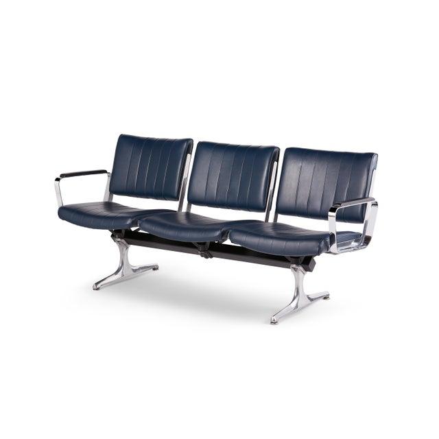 Chromcraft Chromcraft Navy 3-Seat Original Vinyl Airport Bench For Sale - Image 4 of 4