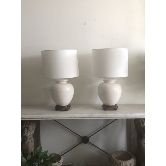 Antique White Mid-Century White Turnip Shape Lamps - A Pair For Sale - Image 8 of 8