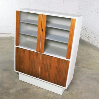 Mid Century Modern Scandinavian Style China Display Cabinet W/ White Case & Teak Front Preview