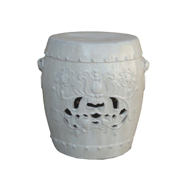 Chinese Clay White Lotus Garden Stool/Ottoman - Image 1 of 7