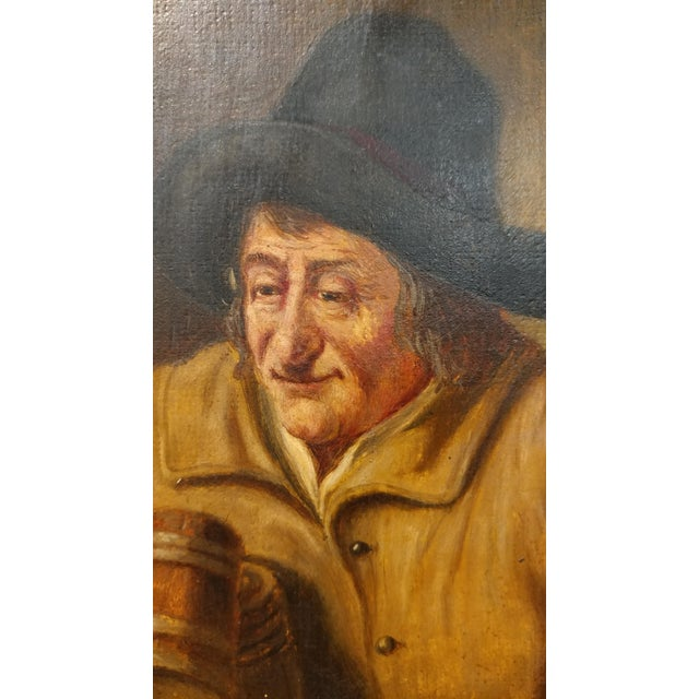 19th Century Dutch Stein Drinker Oil Painting - Image 4 of 8