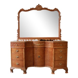 Antique Burled Maple French Carved Vanity & Mirror by Romweber