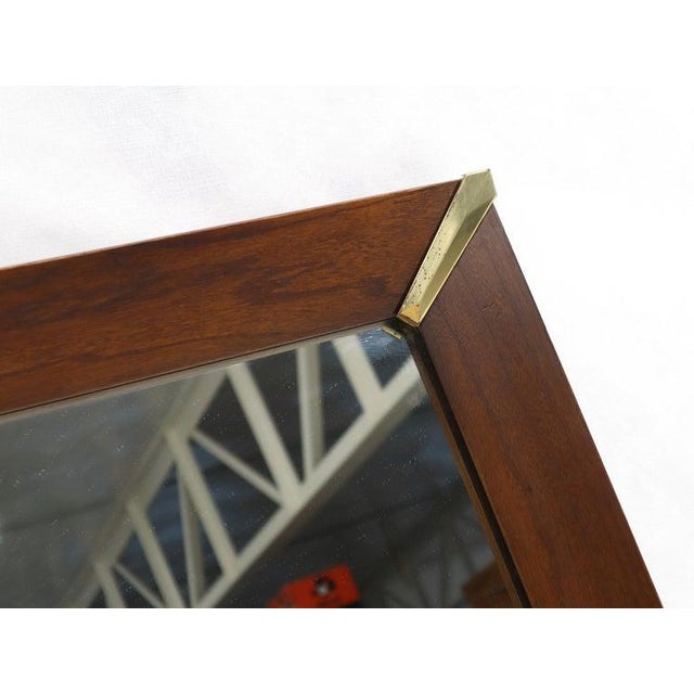 Mid-Century Modern Walnut Frame With Brass Diamond Accents Wall Mirror For Sale - Image 6 of 8