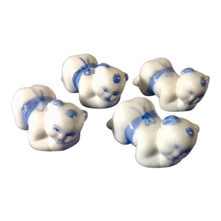 "1940s Chinese Porcelain ""Kneeling Boy"" Chopstick Rests - Set of 4"