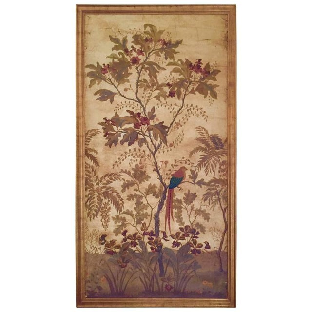 Plastic Large Decorative Painted Panel in Gilt Frame For Sale - Image 7 of 7
