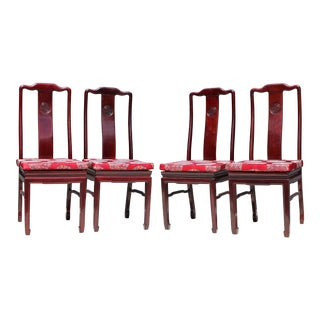 Vintage Chippendale-Style Lacquered Wood Dining Chairs - Set of 4