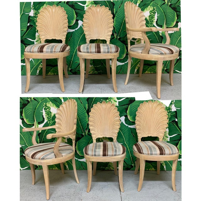 Brown Italian Decorative Venetian Shell Back Dining Chairs, Set of 6 For Sale - Image 8 of 8
