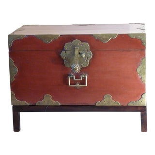 Japanese Laquer Chest on Stand For Sale