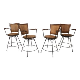 Contemporary Modern Swivel Bar Stools - Set of 4 For Sale
