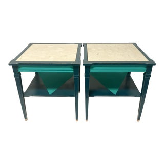 Two Tone Turquoise Marble Top End Tables - A Pair