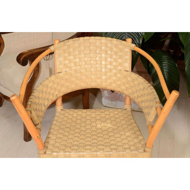 Pair of Bamboo Armchairs With Woven Leather Seats and Backs, Circa 1970s For Sale - Image 4 of 8