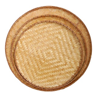 Vintage Woven Bamboo Wall Basket Set - 3 Pieces For Sale