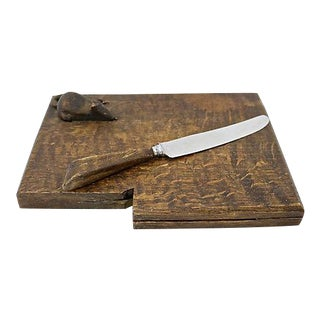 English Cheese Board & Knife w/ Mouse
