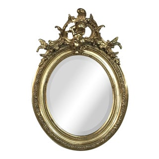 19th Century French Louis XV Gilded Mirror With Cherub For Sale