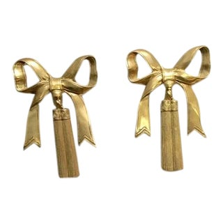 1970s Hollywood Regency Brass Bows With Tassels - a Pair For Sale