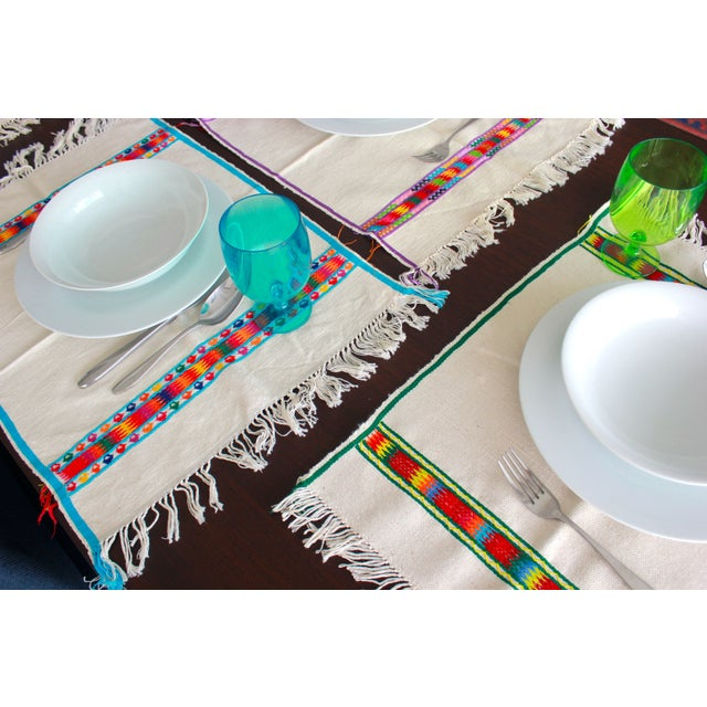 Hand Embroidered Multicolor Placemats - Set of 6 - Image 3 of 7